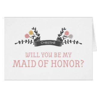 Criada floral moderna de la tarjeta de la petición