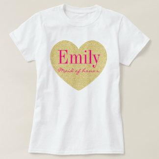 Criada personalizada corazón de oro del brillo del camisas