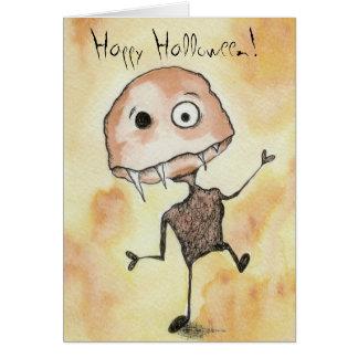 Criatura loca con los colmillos Halloween Tarjeta