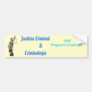 criminologia criminal de $ del justicia pegatina para coche