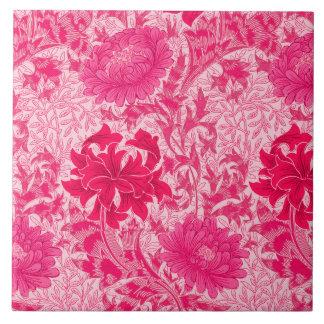 crisantemos de william morris rosa del fucsia azulejo cuadrado grande