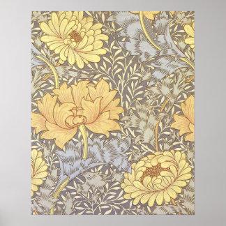 Crisantemos del papel pintado floral del vintage posters