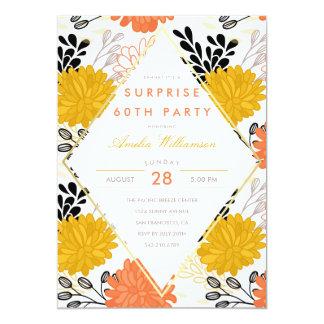 Crisantemos retros coloridos del fiesta de invitación 12,7 x 17,8 cm