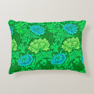 Crisantemos, verde lima y aguamarina de William Cojín Decorativo