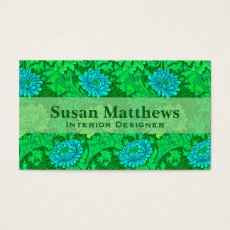 Crisantemos, verde lima y aguamarina de William Tarjeta De Negocios