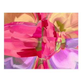 Cristal color de rosa - pétalo del brote n de postal