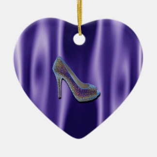 Cristal púrpura del zapato del tacón alto del saté ornamente de reyes