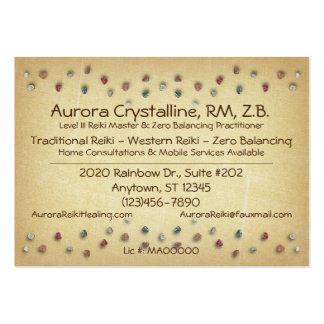Cristales y tarjetas de visita de las piedras