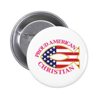Cristiano americano orgulloso chapa redonda de 5 cm