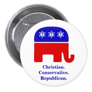 Cristiano. Conservador. Republicano Chapa Redonda 7 Cm
