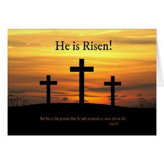 Cristiano él es celebración subida de Pascua con Tarjeta De Felicitación