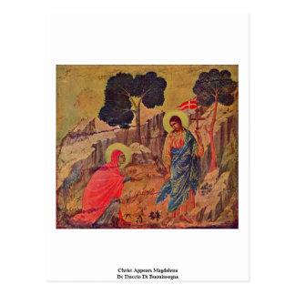 Cristo aparece Magdalena de Duccio Di Buoninsegna Postal