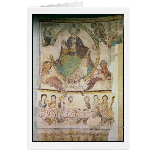 Cristo en majestad con cuatro símbolos evangélicos tarjetón
