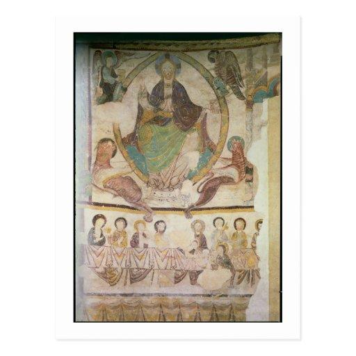 Cristo en majestad con cuatro símbolos evangélicos postales