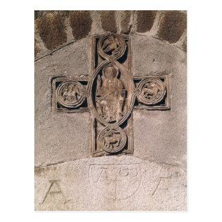 Cristo en majestad con símbolos del postal