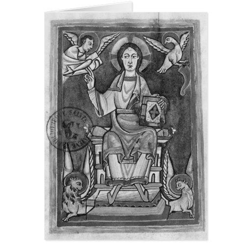 Cristo en majestad, de un Benedictional Felicitación