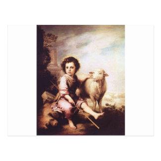 Cristo joven como el buen pastor circa 1660 postal