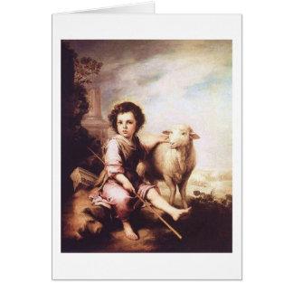 Cristo joven como el buen pastor circa 1660 tarjetón