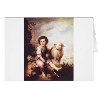 Cristo joven como el buen pastor circa 1660 tarjeta de felicitación