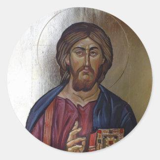 Cristo Pantocrator - icono bizantino del estilo Pegatina Redonda
