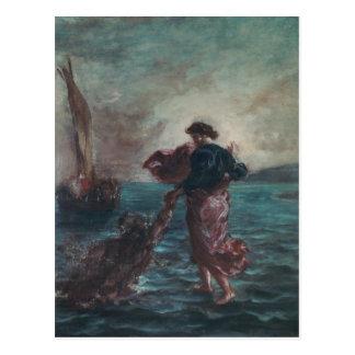 Cristo que camina en el agua postal