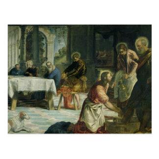 Cristo que lava los pies de los discípulos, c.1547 postal