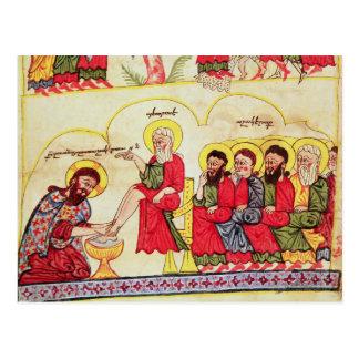Cristo que lava los pies de los discípulos postal
