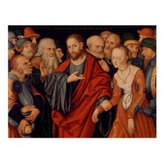 Cristo y el adulterio admitido mujer postal
