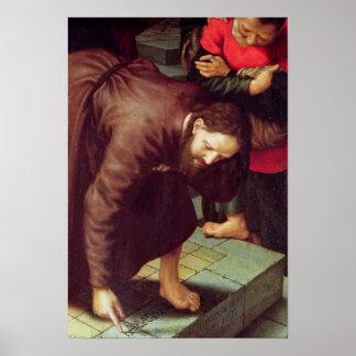 Cristo y el adulterio admitido mujer póster