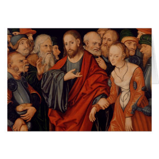 Cristo y el adulterio admitido mujer tarjeta de felicitación