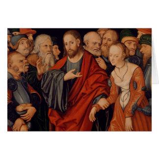 Cristo y el adulterio admitido mujer tarjetas