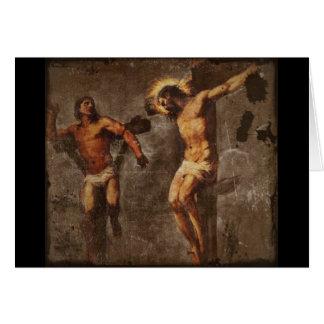 Cristo y el buen ladrón tarjeta de felicitación