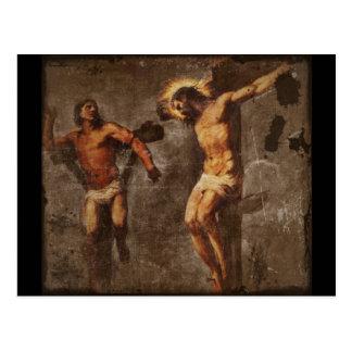 Cristo y el buen ladrón postal