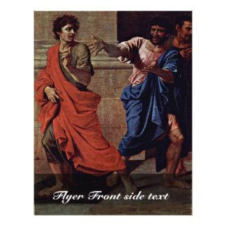 Cristo y el detalle de la adúltera de Poussin Nico Folleto 21,6 X 28 Cm