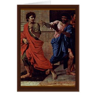 Cristo y el detalle de la adúltera de Poussin Nico Tarjeta De Felicitación