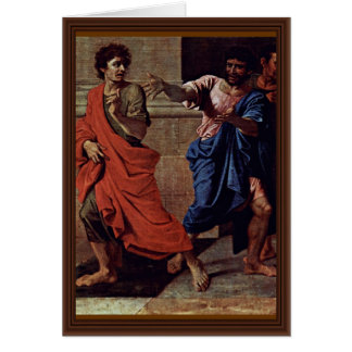 Cristo y el detalle de la adúltera de Poussin Nico Tarjetas