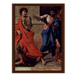 Cristo y el detalle de la adúltera de Poussin Nico Postal
