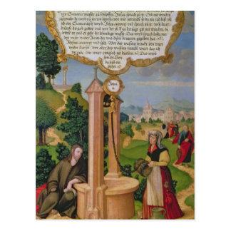 Cristo y la mujer de Samaria en el pozo de Jacob Postal