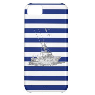 Cromo de la pesca de la aguja en rayas azules funda para iPhone 5C