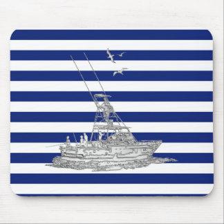 Cromo de la pesca de la aguja en rayas náuticas alfombrillas de ratón