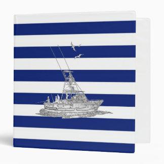 Cromo de la pesca de la aguja en rayas náuticas carpeta 3,8 cm