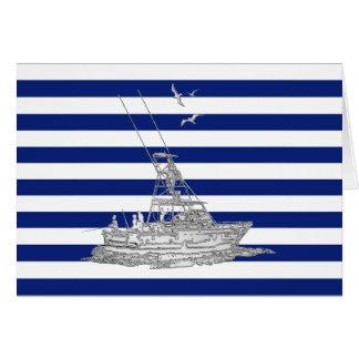 Cromo de la pesca de la aguja en rayas náuticas tarjeta de felicitación
