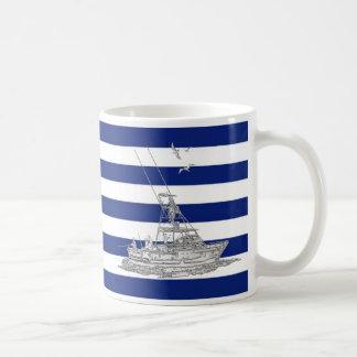 Cromo de la pesca de la aguja en rayas náuticas tazas de café
