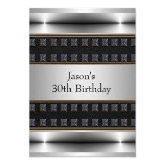Cromo para hombre del cuero del negro de la fiesta invitación 12,7 x 17,8 cm