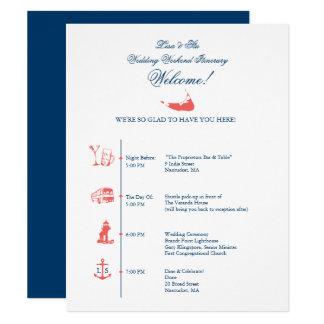 Cronología del itinerario de la recepción nupcial invitación 10,8 x 13,9 cm