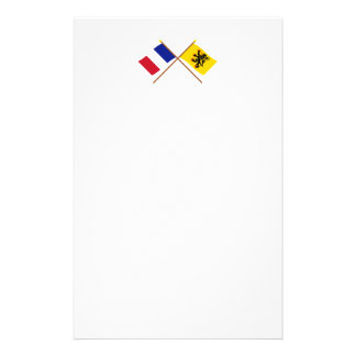Crossed flags of France and Nord-Pas-de-Calais Stationery Paper