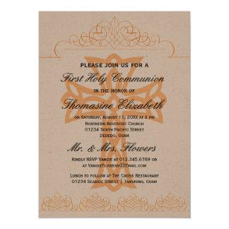 Cruce las primeras invitaciones de la comunión anuncios