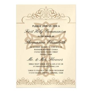 Cruce las primeras invitaciones de la comunión san invitacion personalizada