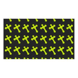 Cruces amarillas de neón brillantes en una tela ne tarjetas de visita