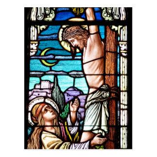 Crucifixión de Jesús - vitral Postal